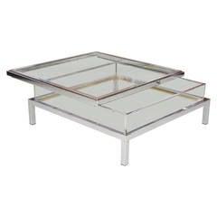 Maison Jansen Glas-Schiebeplatte Tisch aus Chrom