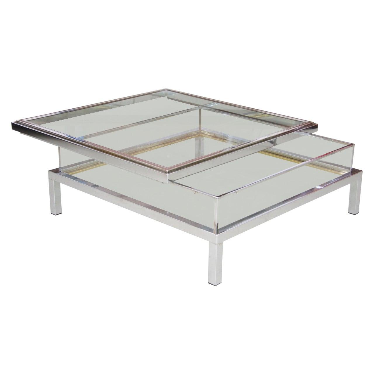 Maison Jansen Sliding Glass Top Table in Chrome