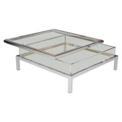 Maison Jansen Sliding Glass Top Table in Chrome
