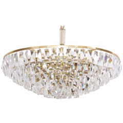Extraordinary Huge Palwa Gilded Brass and Crystal Glass Chandelier