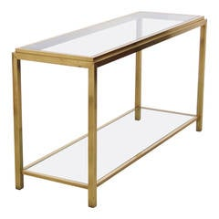 Large Maison Jansen  Two-Tier Brass and Glass Console Table