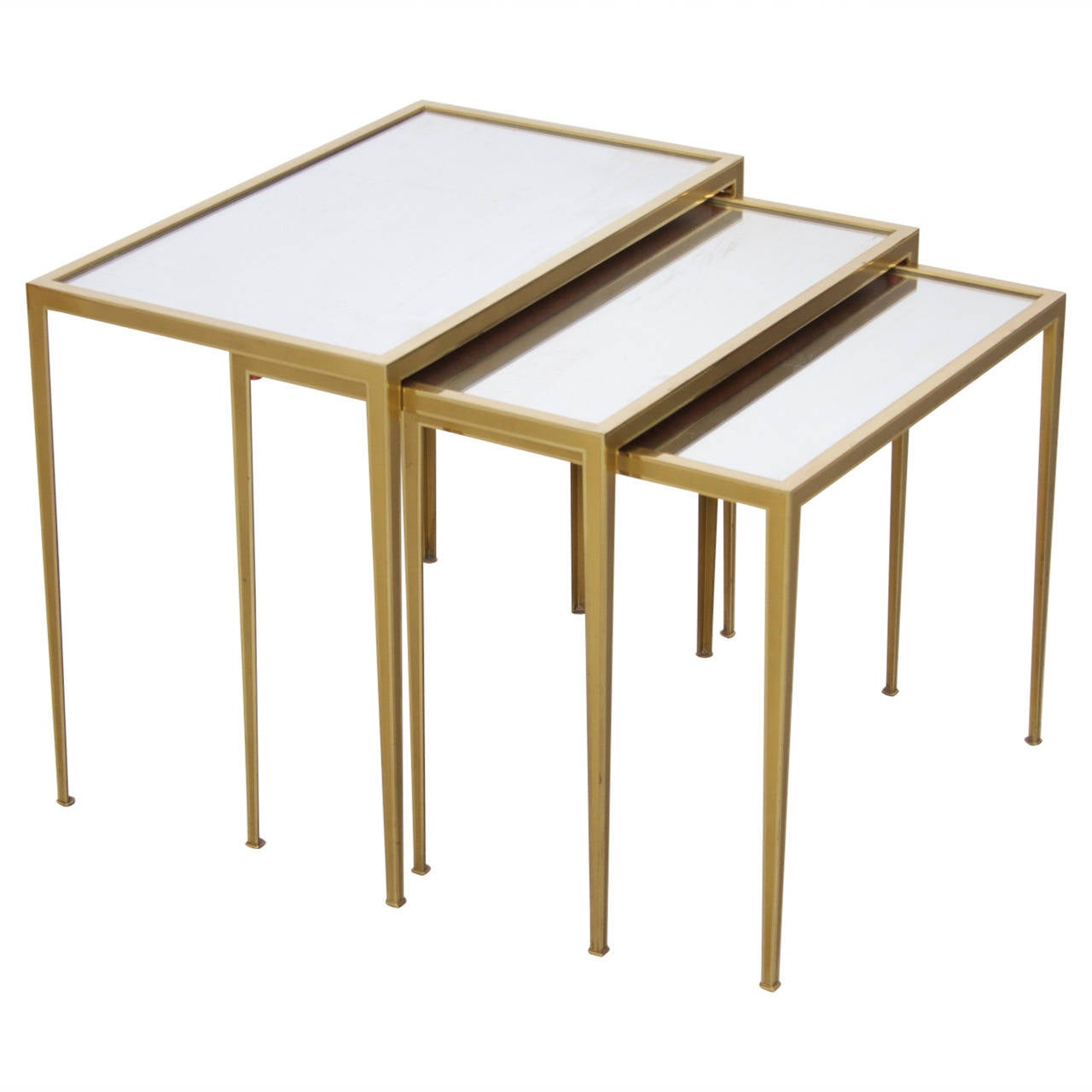 Attractive Set Of Three Münchner Werkstätten Brass And Mirror Glass Nesting Tables 1