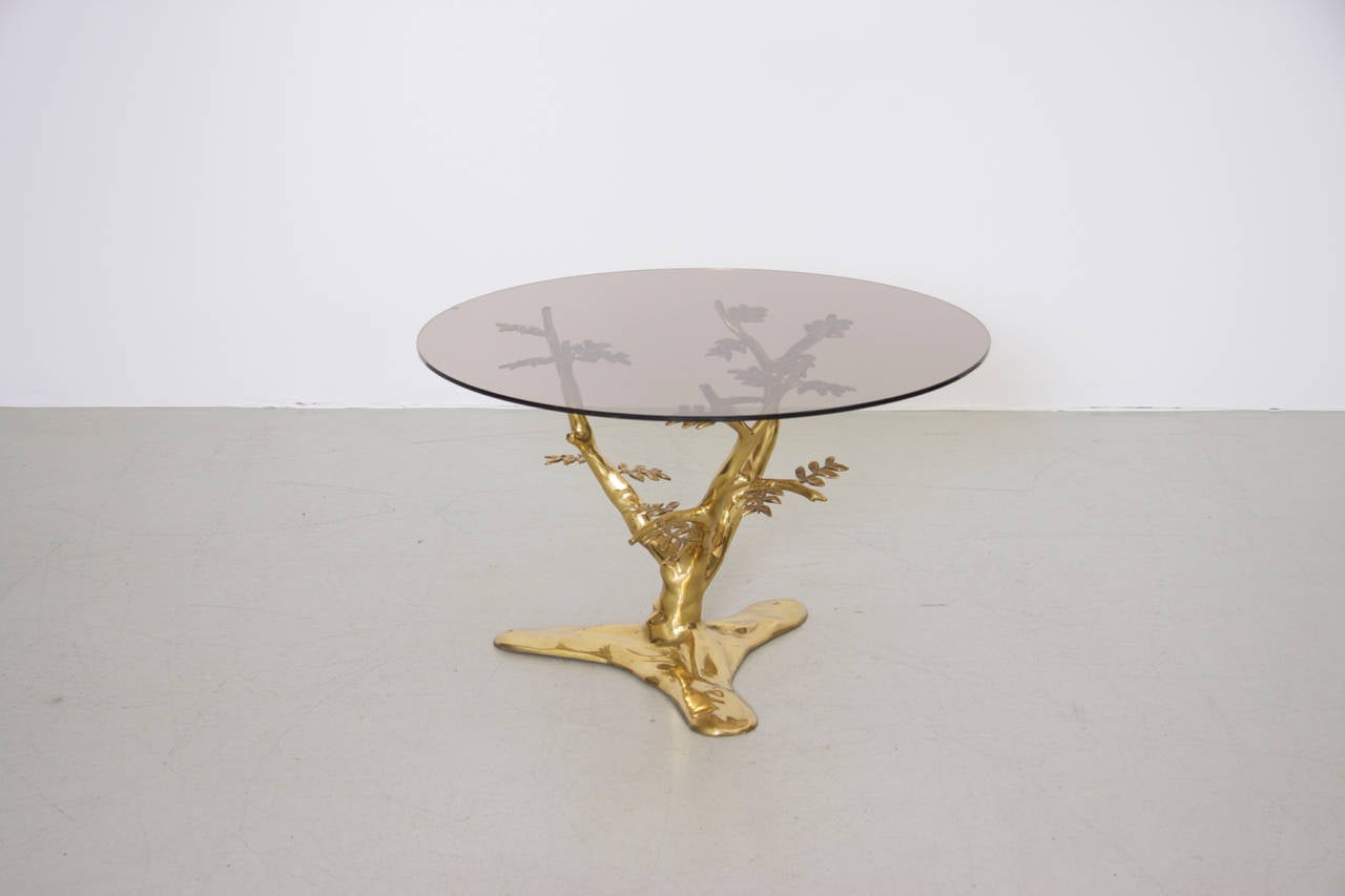 Belgian Brass Tree Sculpture Coffee Table with Round Glass Top For Sale