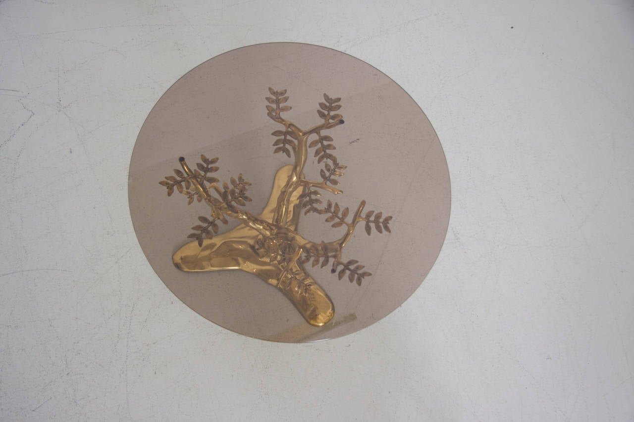 Late 20th Century Brass Tree Sculpture Coffee Table with Round Glass Top For Sale