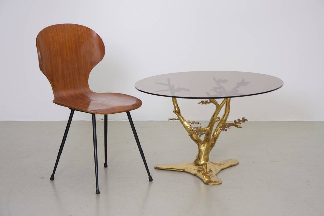 Brass Tree Sculpture Coffee Table With Round Glass Top For Sale At 1stdibs