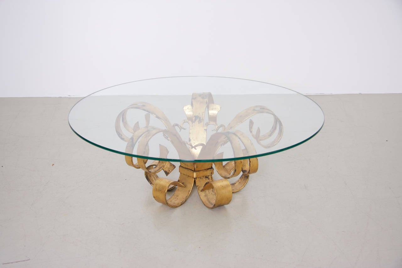 French Huge Hollywood Regency Gilt Wrought Iron Italian Coffee Table with Glass Top For Sale