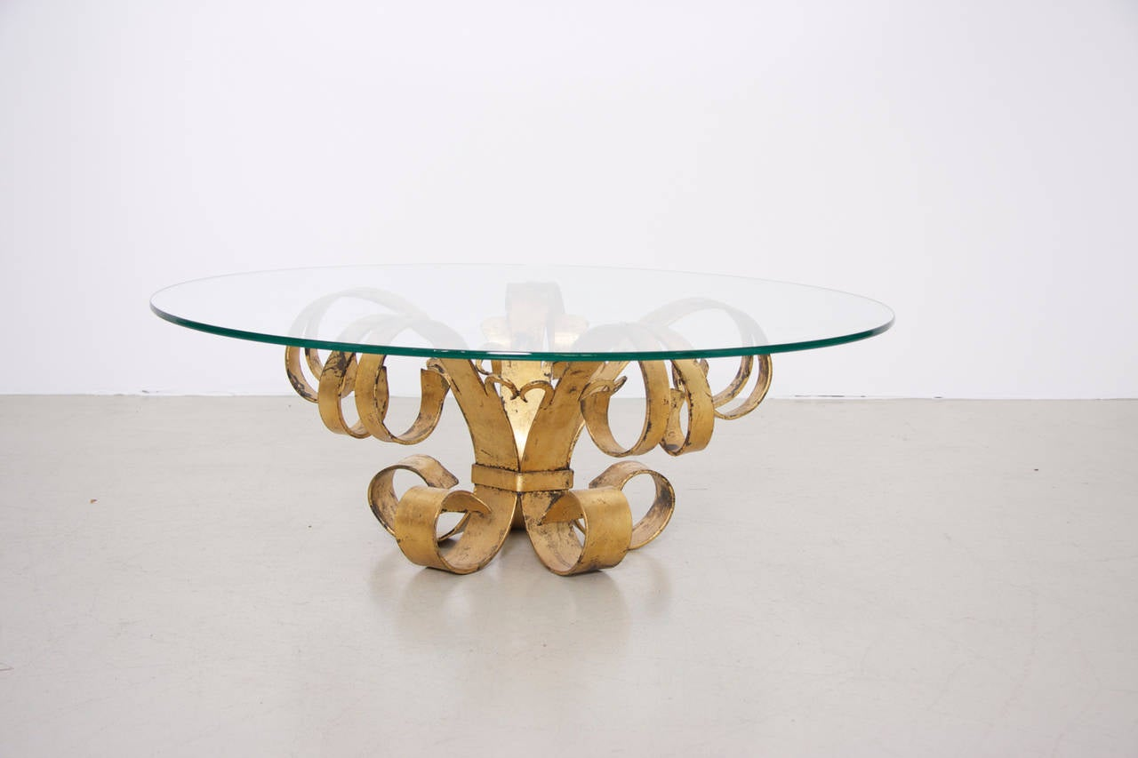 Mid-20th Century Huge Hollywood Regency Gilt Wrought Iron Italian Coffee Table with Glass Top For Sale