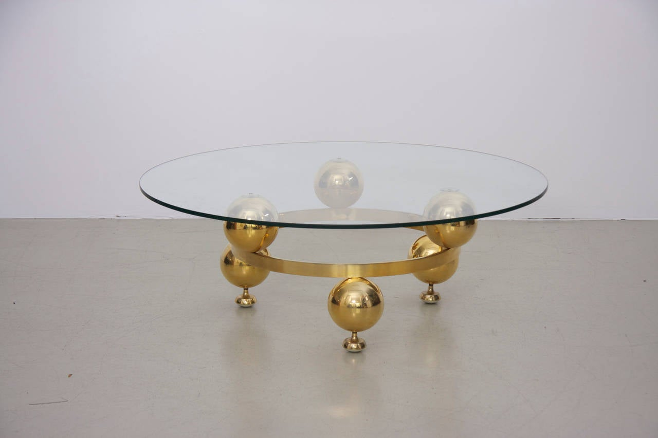 Round brass sputnik coffee table with glass top for sale for Circular glass top coffee table