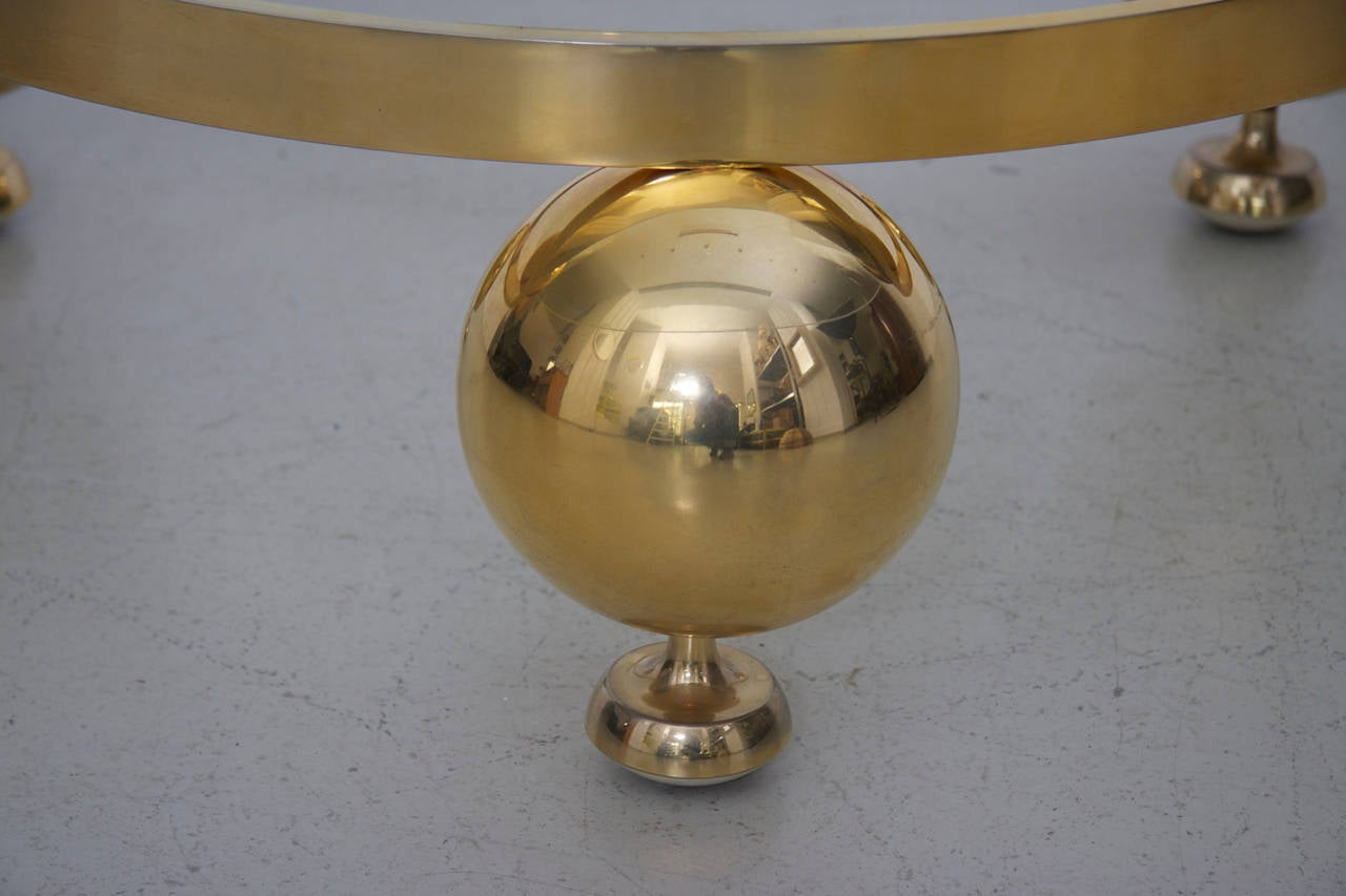 Round Brass Sputnik Coffee Table With Glass Top For Sale At 1stdibs