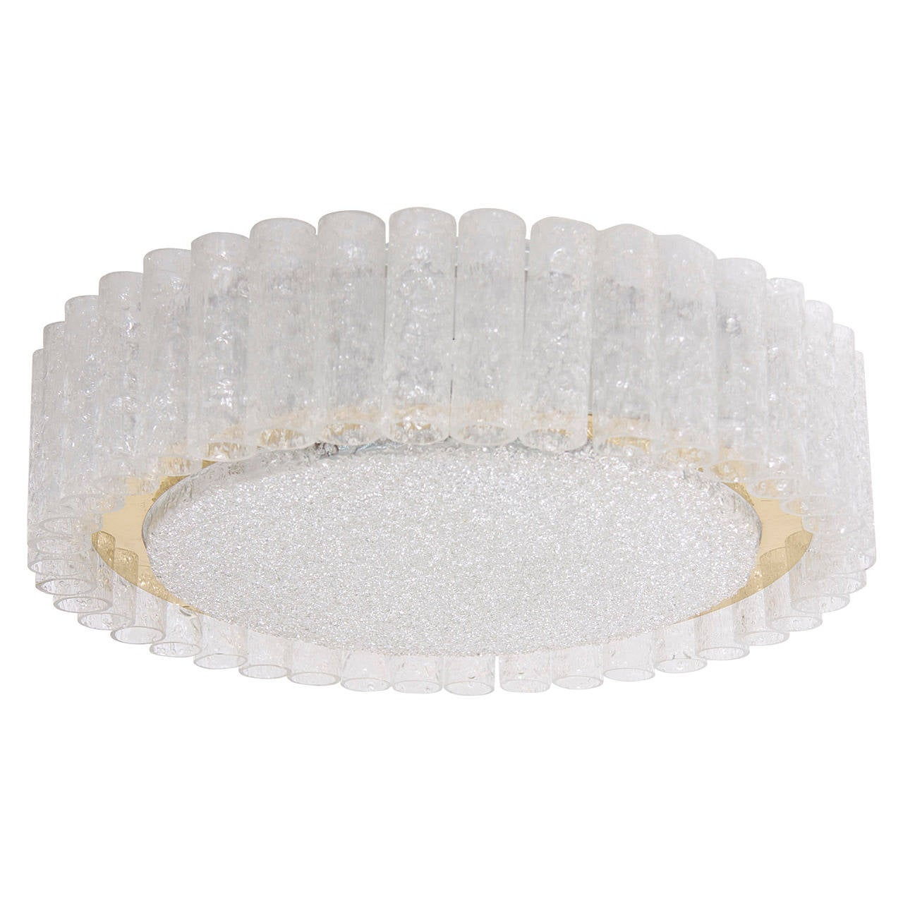 Extra Large Doria Glass Flush Mount or Sconce with Brass Surround
