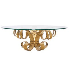 Huge Hollywood Regency Gilt Wrought Iron Italian Coffee Table with Glass Top
