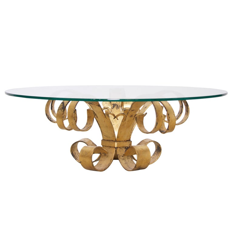 Huge Hollywood Regency Gilt Wrought Iron Italian Coffee Table with Glass Top For Sale