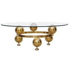 Round Brass Sputnik Coffee Table with Glass Top