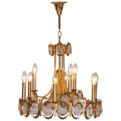 Huge Gilded Brass and Glass Palwa Chandelier