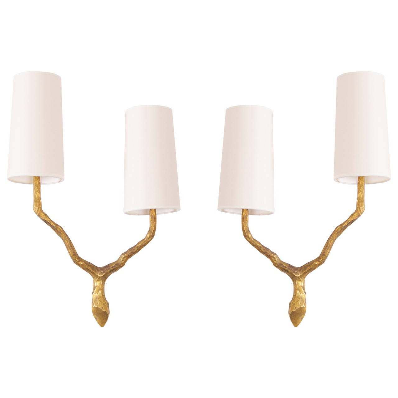 Pair of Bronze Sconces or Wall Lamps from Maison Arlus  Felix Agostini style