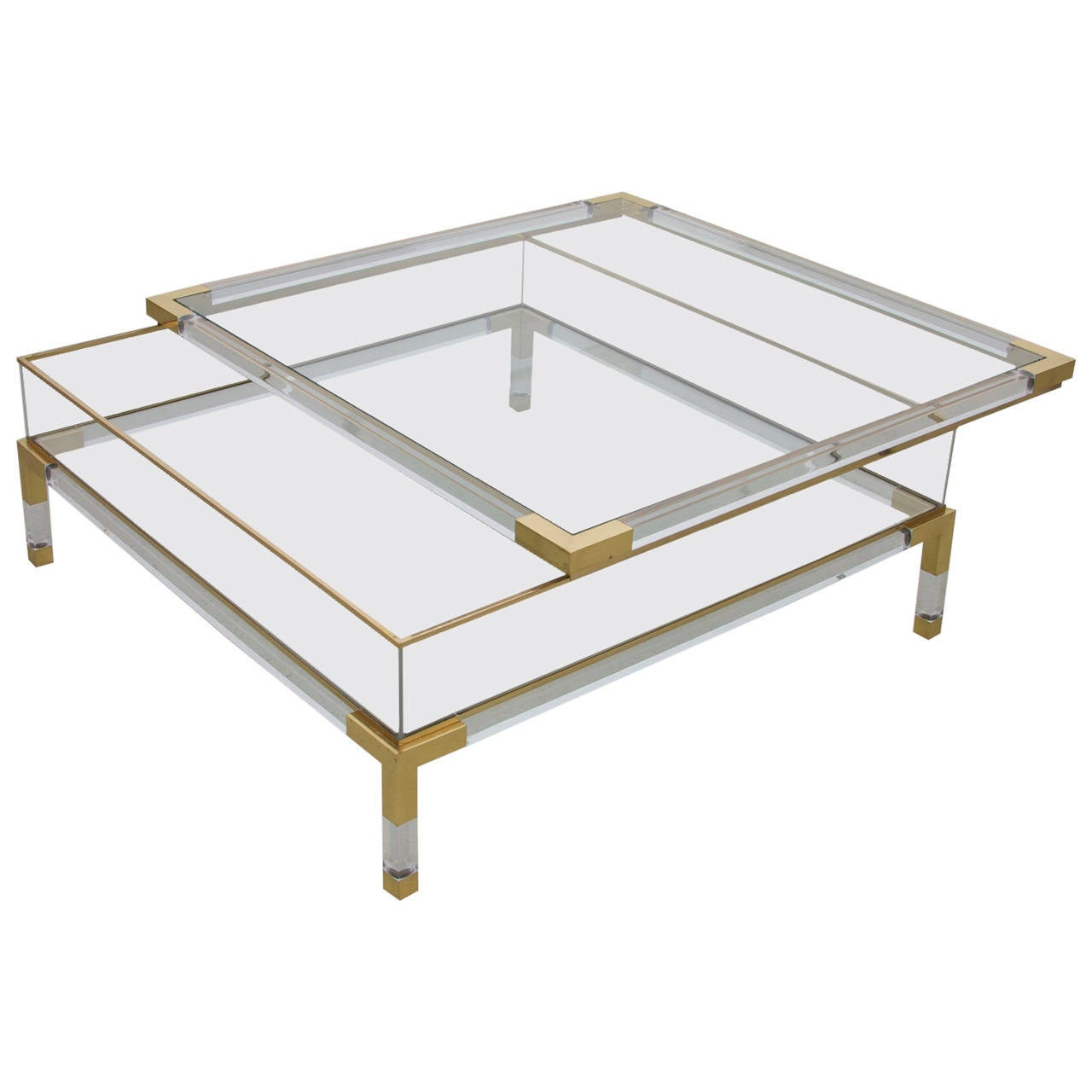 large lucite and brass vitrine coffee table by charles