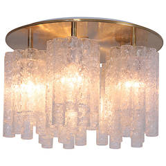 1 of 5 Huge Doria Flush Mount Chandelier with Glass Tubes and Brass Plate