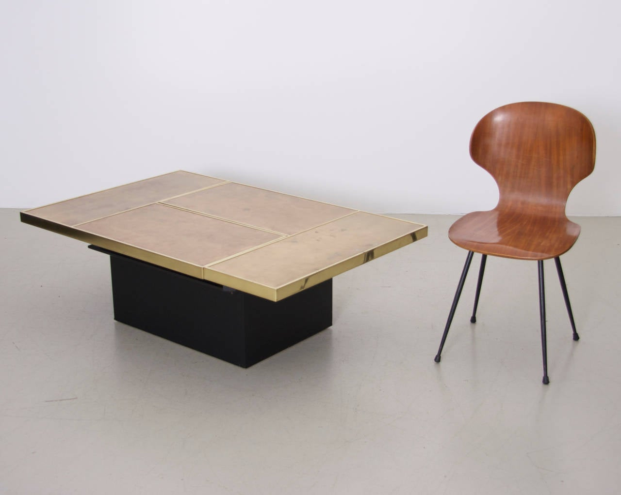Very Rare Brass Coffee Table With Mirrored Bar In The