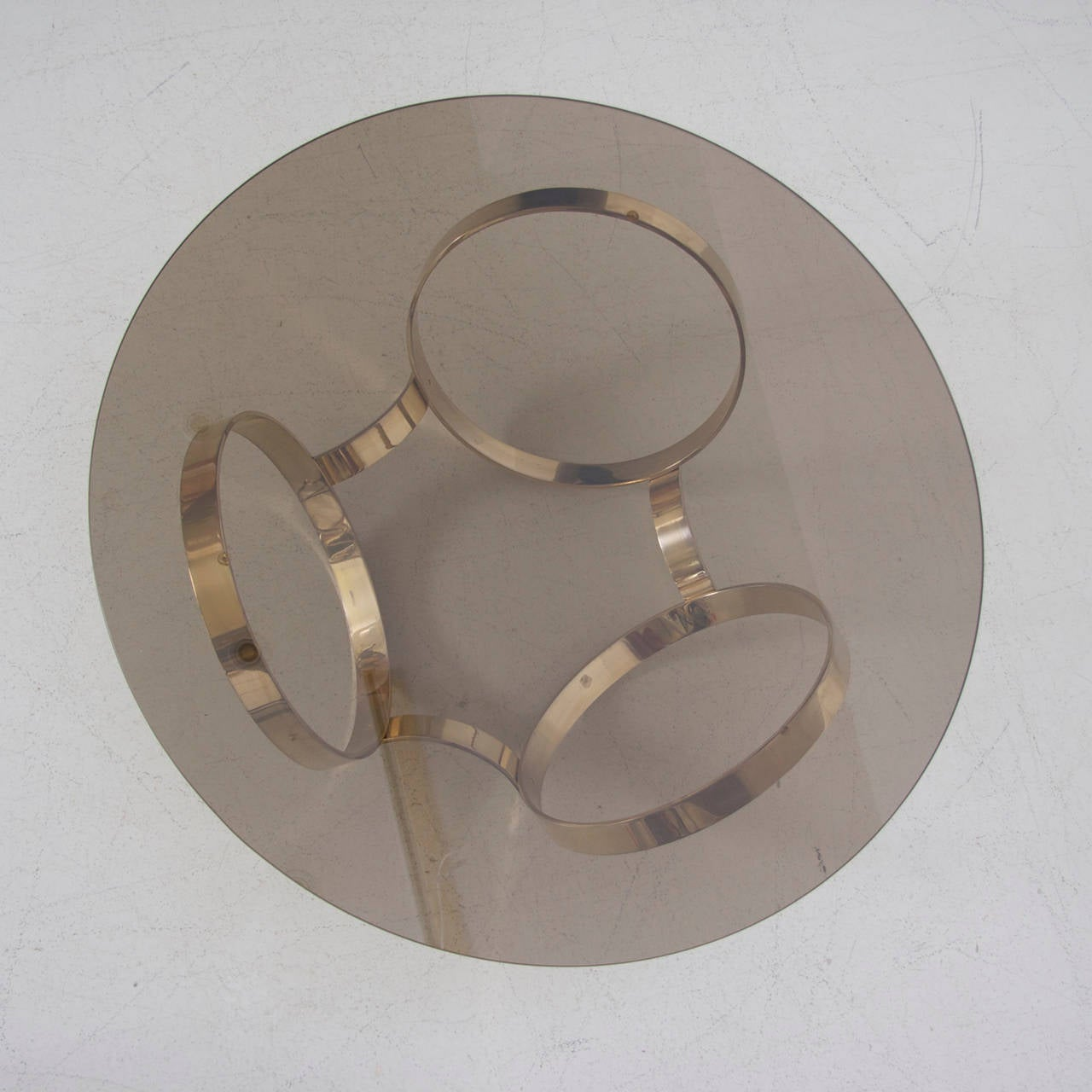 Round Brass Geometric Rings Coffee Table With Glass Top At