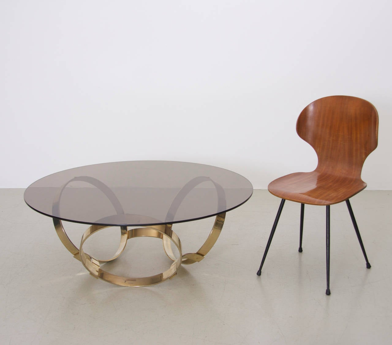 Round Brass Geometric Rings Coffee Table With Glass Top At 1stdibs