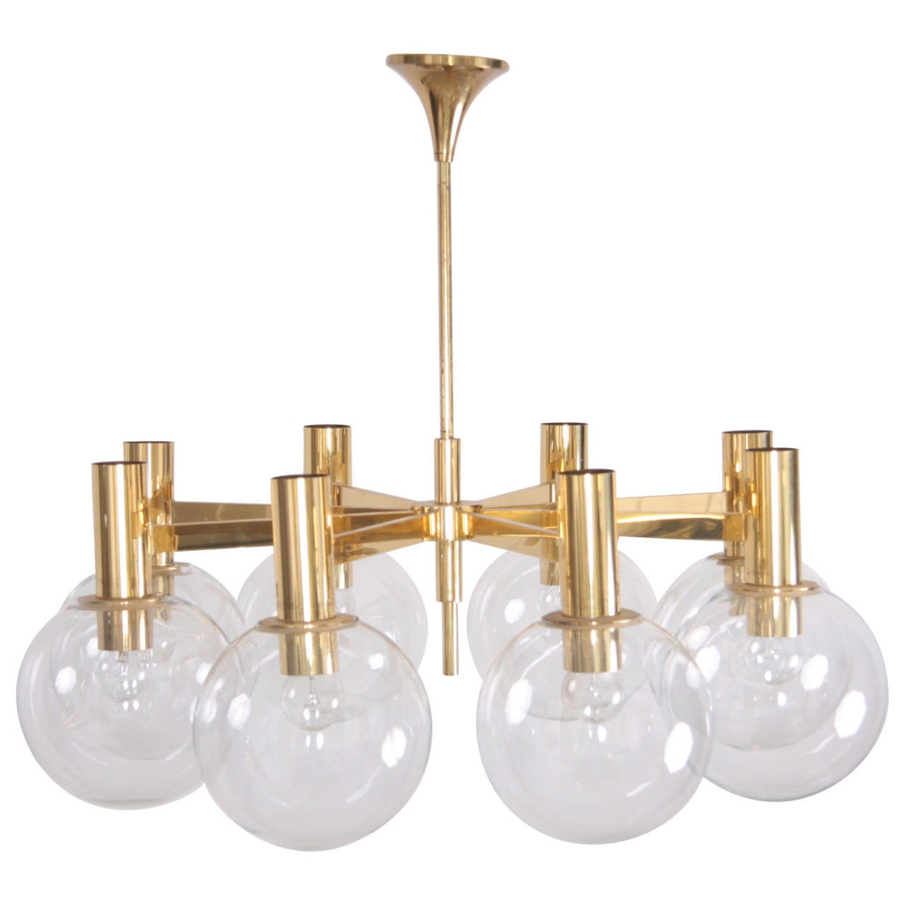 Extra Large Brass Chandelier with Eight Arms by Ott International For Sale