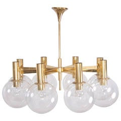 Extra Large Brass Chandelier with Eight Arms by Ott International