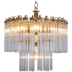 Two-Tier Glass and Brass Chandelier in the Manner of Venini
