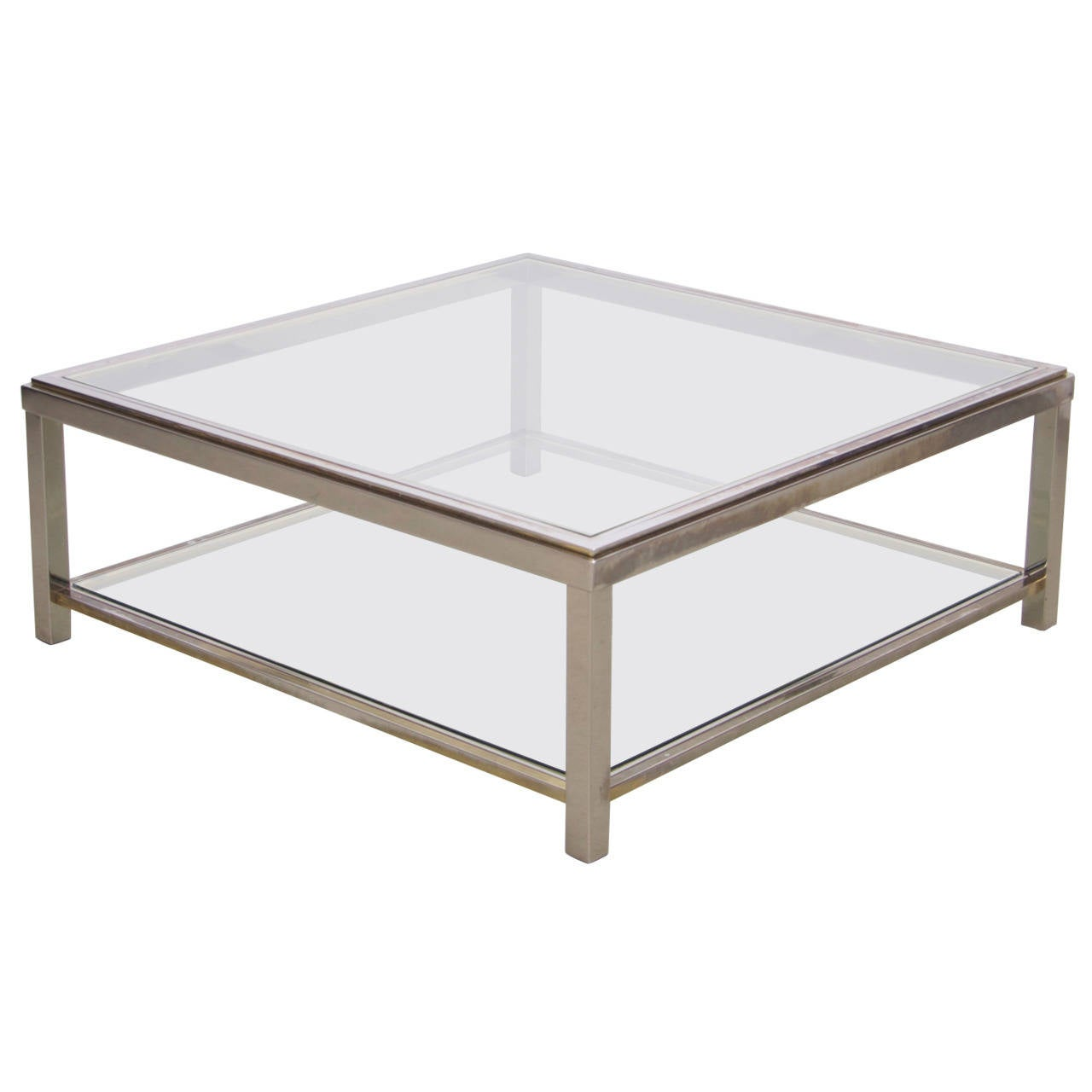 Two Tier Brass And Chrome Coffee Table Attributed To Willy Rizzo For Sale At 1stdibs
