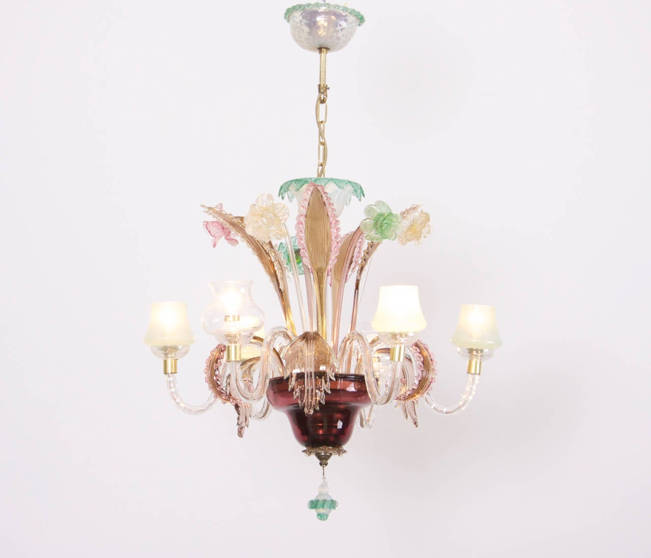Multicolored Venetian Murano Glass Chandelier For Sale At