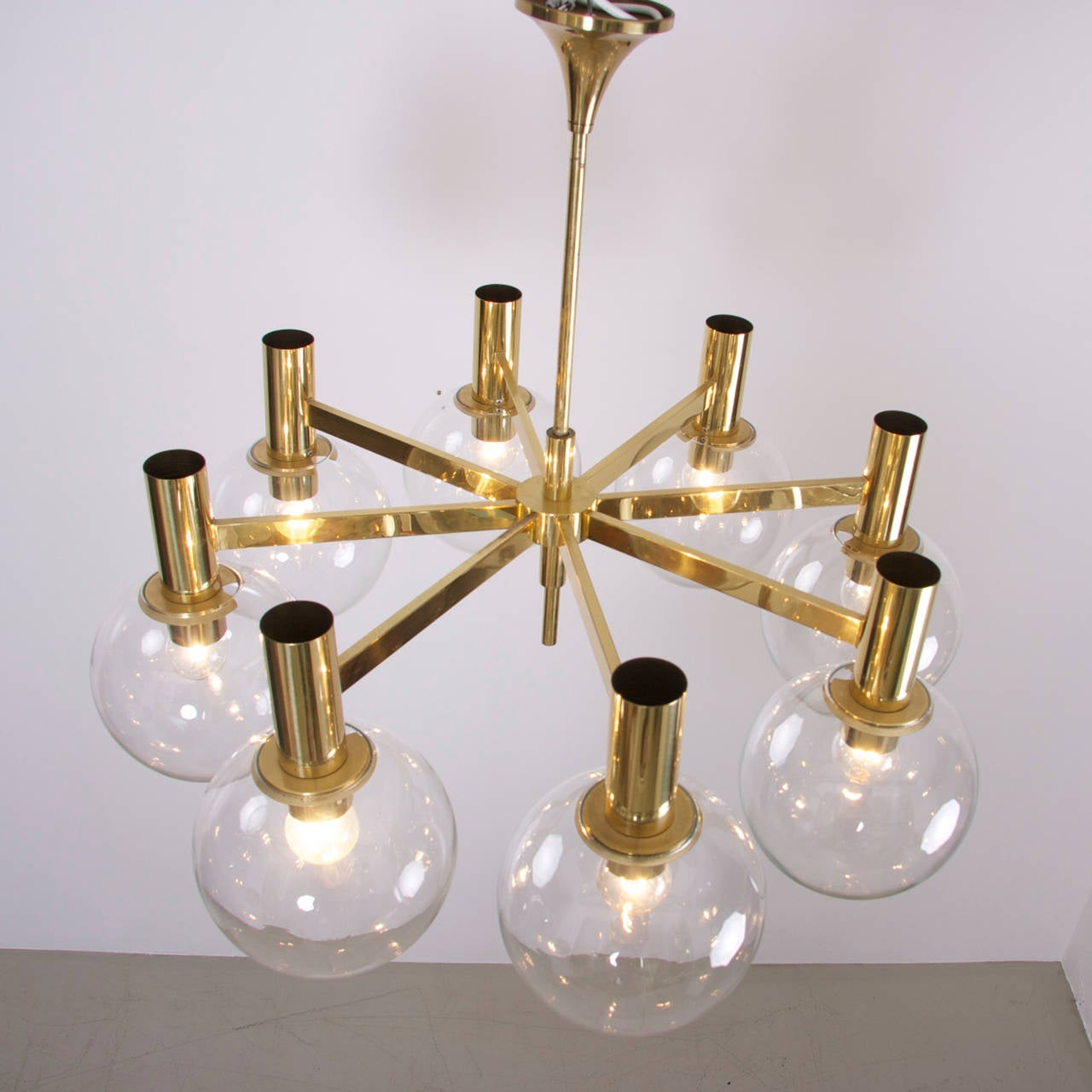 Extra Large Brass Chandelier With Eight Arms By Ott International For Sale At