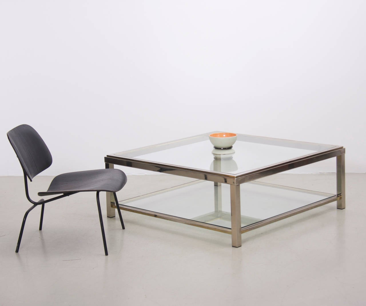 Artimeta Attributed Square Metal And Glass Coffee Table At: Two-Tier Brass And Chrome Coffee Table Attributed To Willy