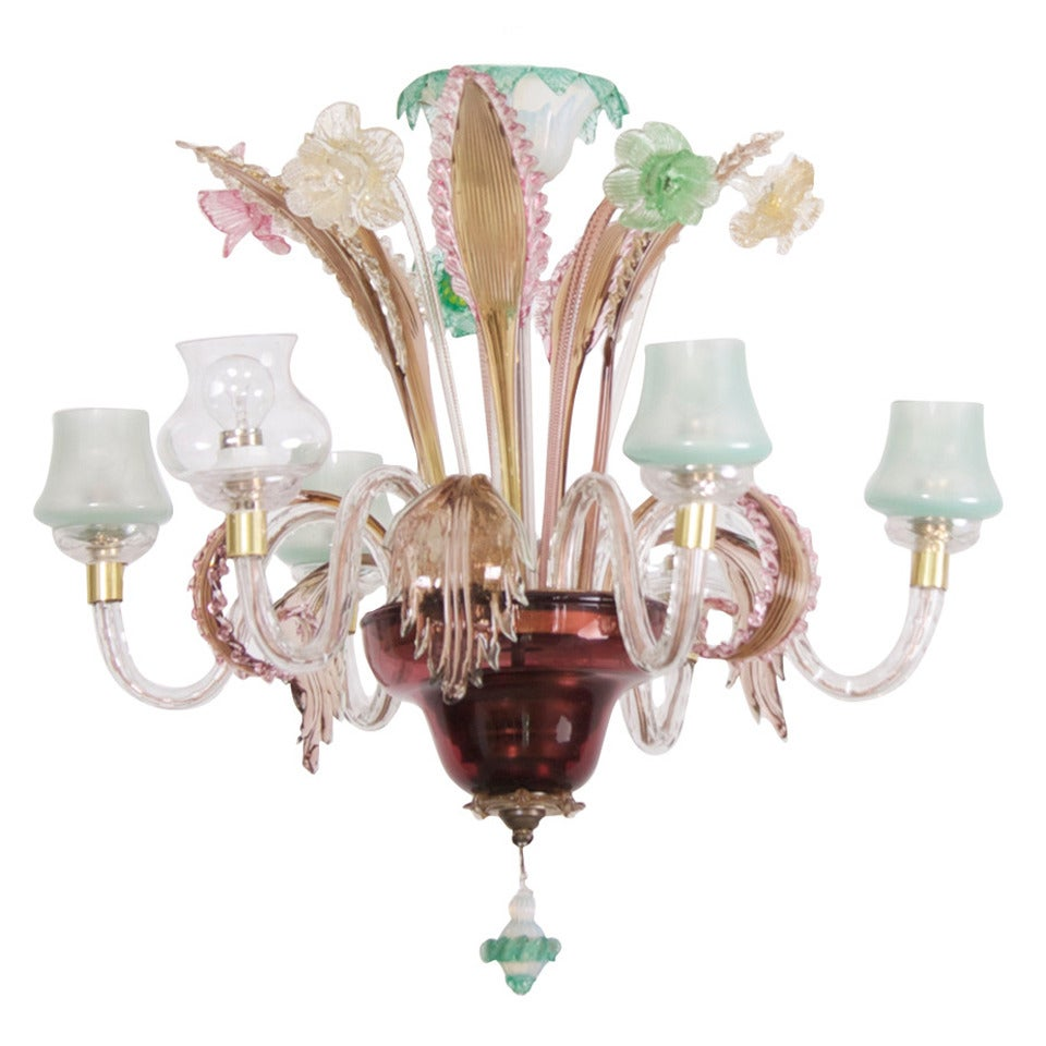 Multicolored Venetian Murano Glass Chandelier