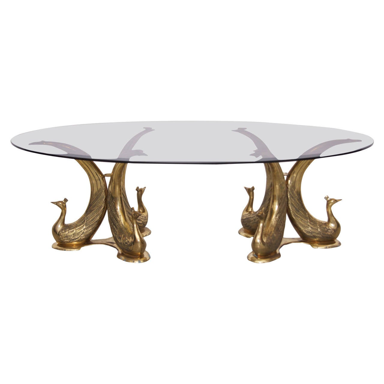 Huge brass peacock coffee table in the manner of maison for Peacock coffee table