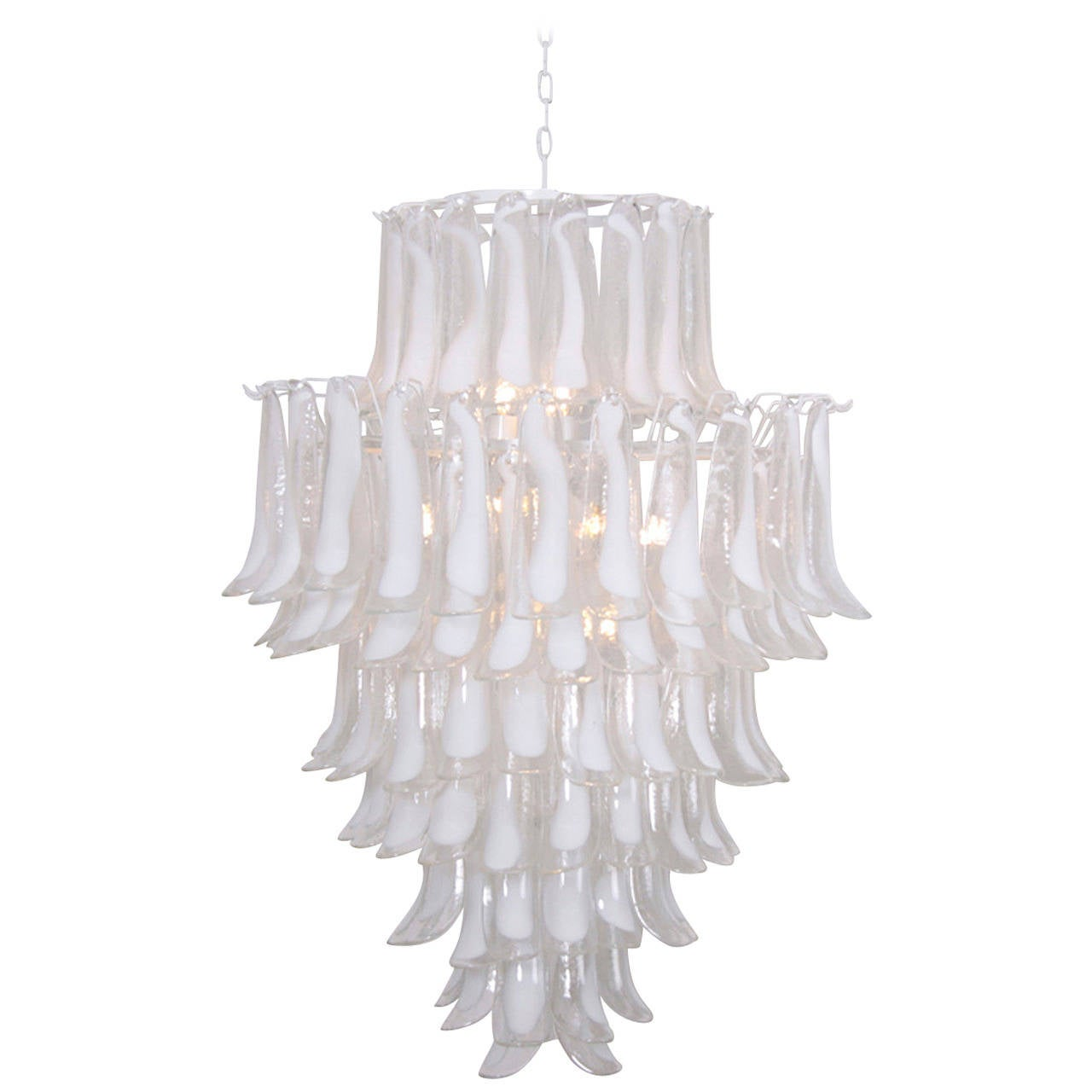 Extra Large Oversized Murano Glass Tulipani Or Feather Chandelier By Mazzega