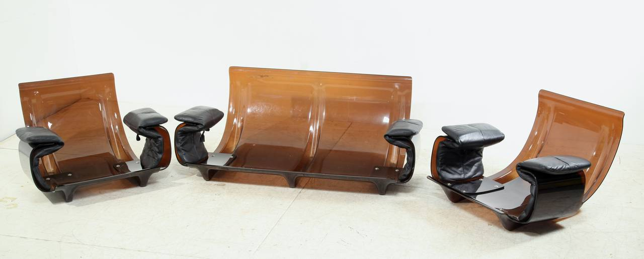 Post Modern Ducaroy Ligne Roset Sofa Set In Brown Perspex With Black  Leather For Sale
