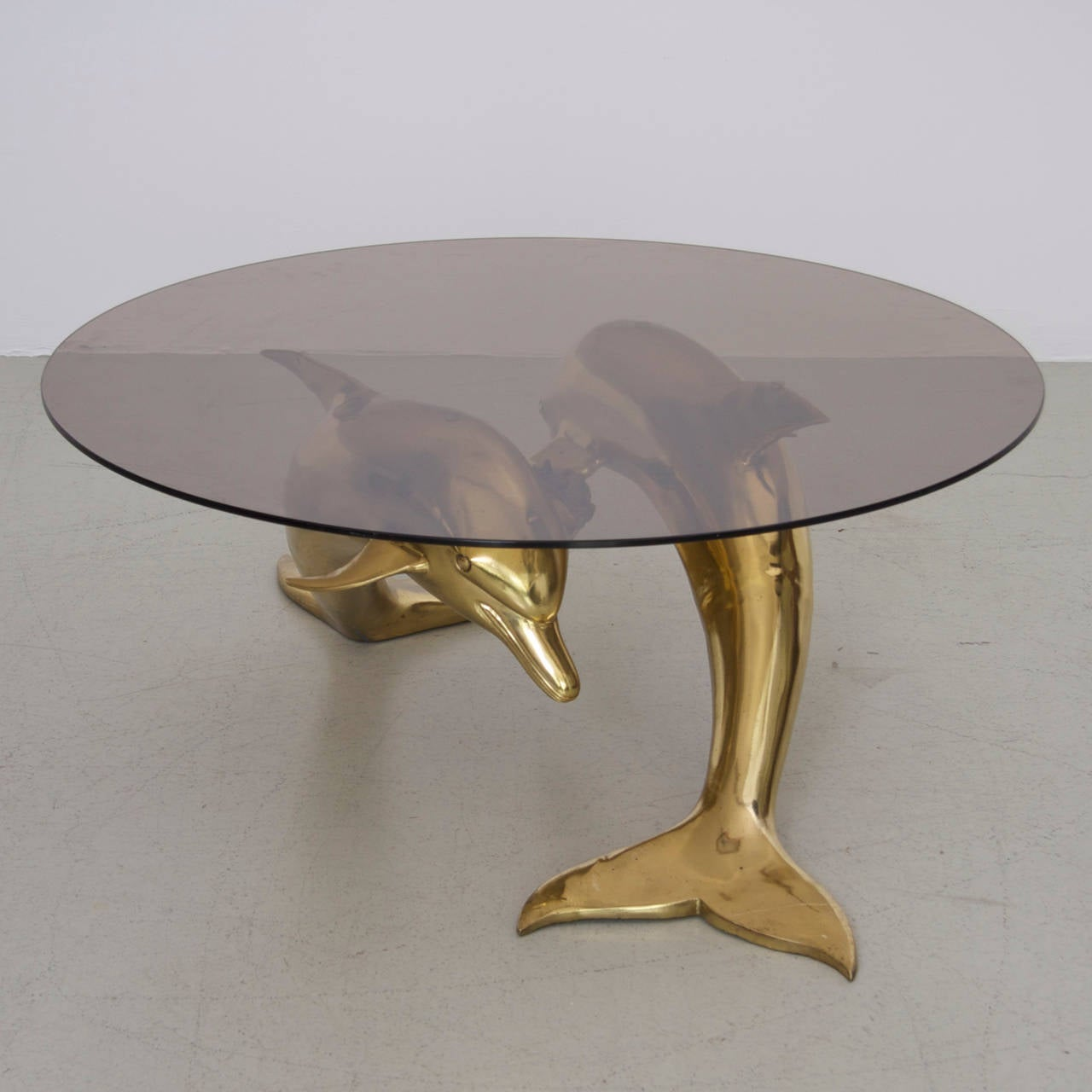 Massive Brass Coffee Table In Form Of Two Dolphins For Sale At 1stdibs