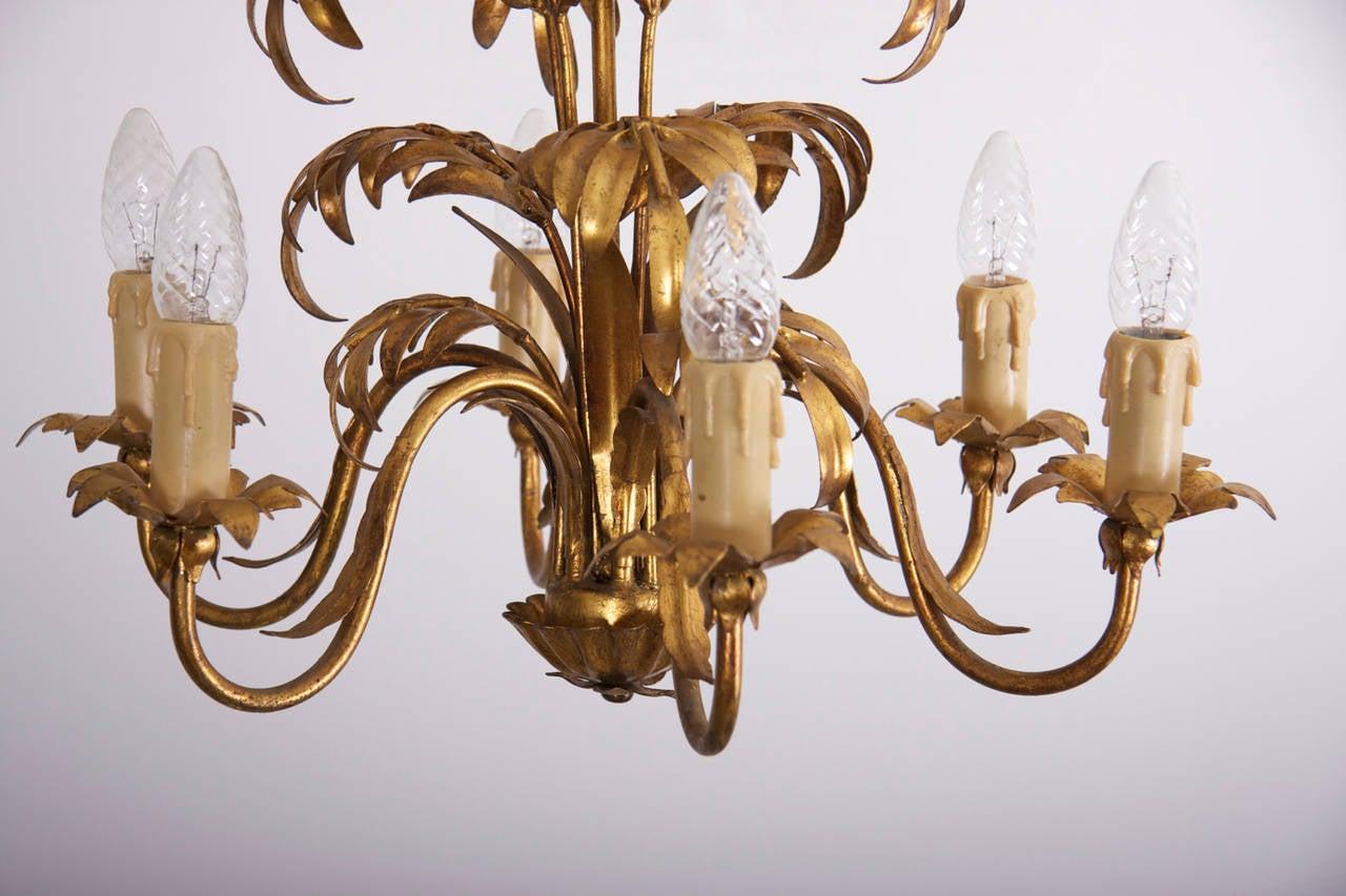 Gilt metal palm tree leaf chandelier attributed to hans kgl for gilt metal palm tree leaf chandelier attributed to hans kgl 2 arubaitofo Images