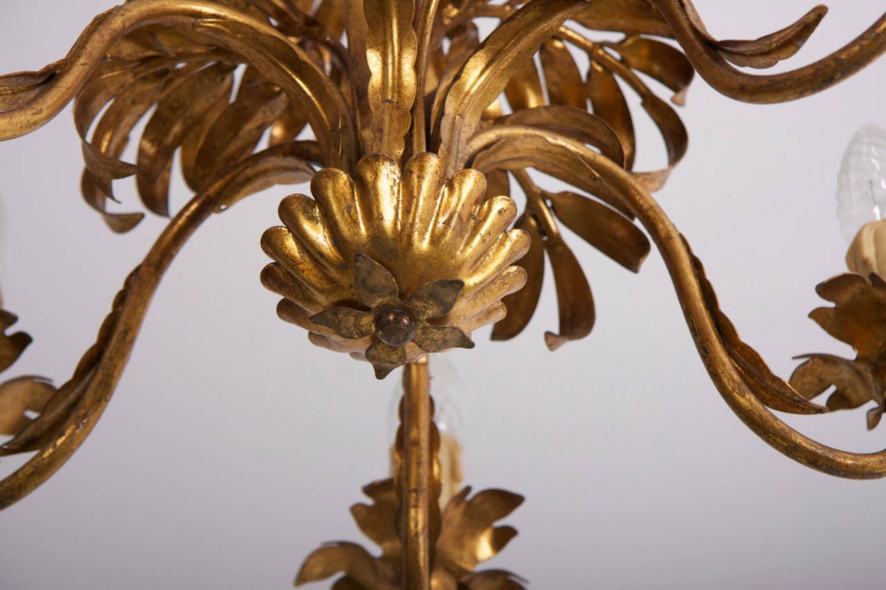 Gilt metal palm tree leaf chandelier attributed to hans kgl for gilt metal palm tree leaf chandelier attributed to hans kgl 3 arubaitofo Images