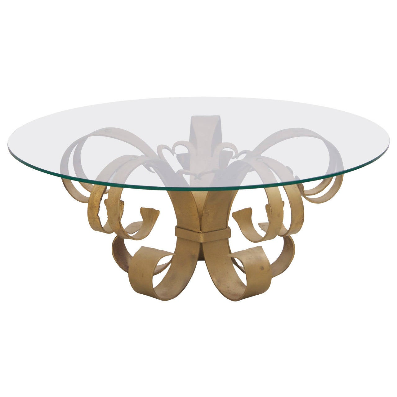 Glass Top Coffee Table With Iron Base: Huge Hollywood Regency Wrought Iron Italian Coffee Table