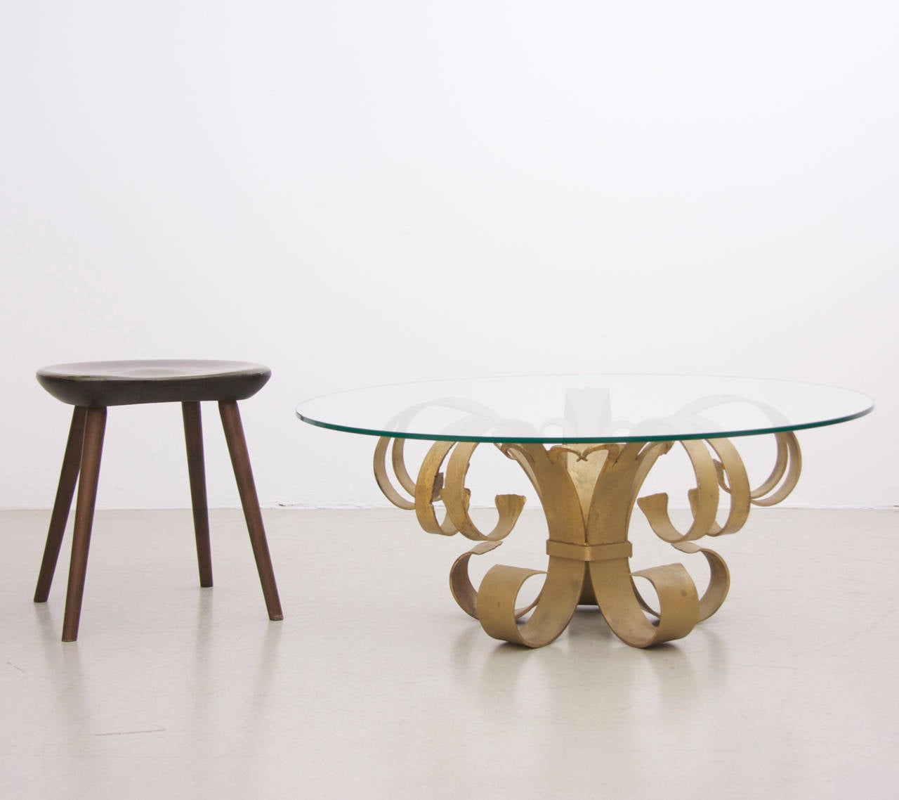 Huge Hollywood Regency Wrought Iron Italian Coffee Table With Glass Top For Sale At 1stdibs