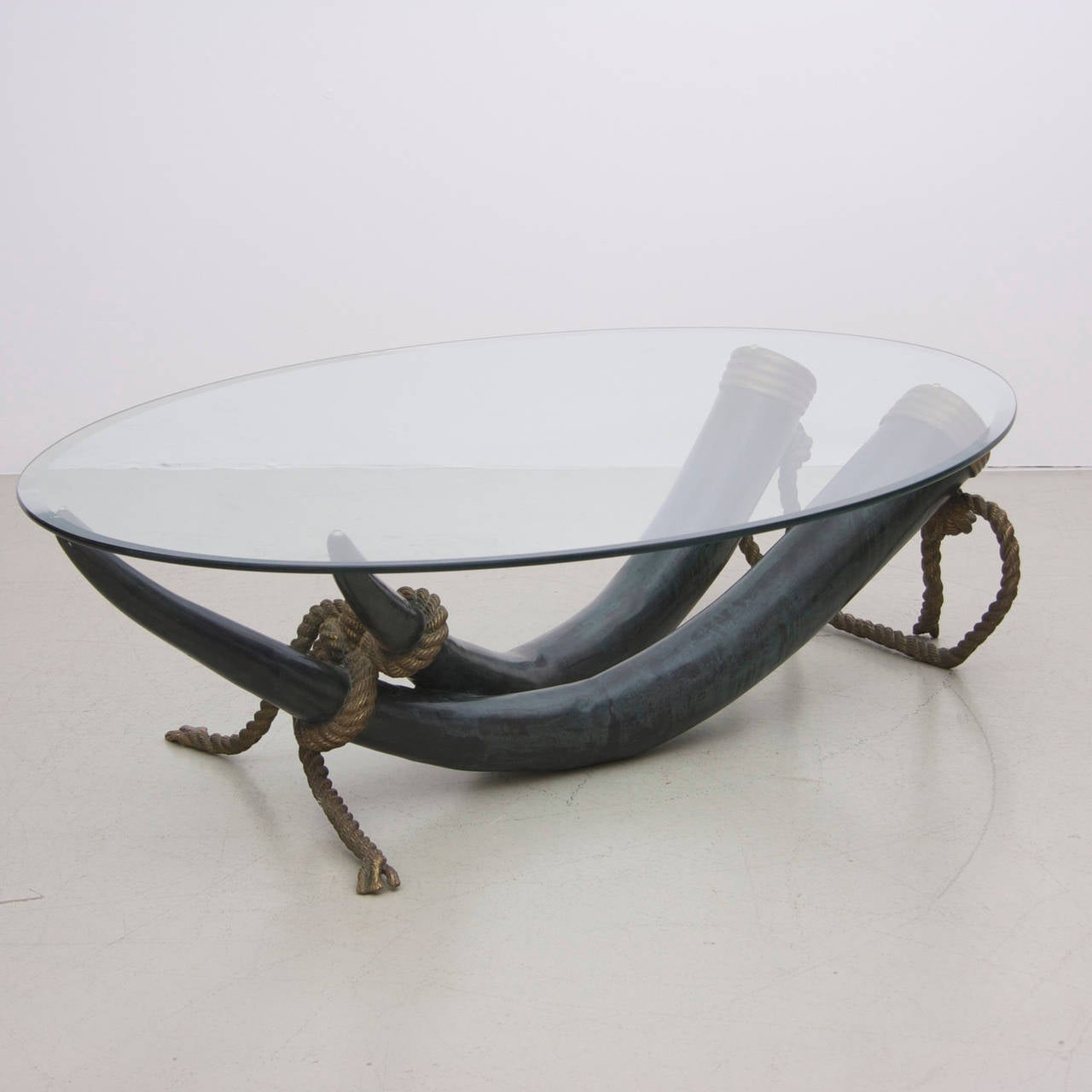 Huge Bronze And Brass Elephant Tusk Coffee Table By Italo Valenti At 1stdibs
