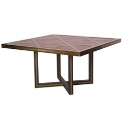 Romeo Rega Dining Table in Brass, Chrome and Wood