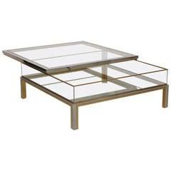 Maison Jansen Sliding Table in Brass and Chrome