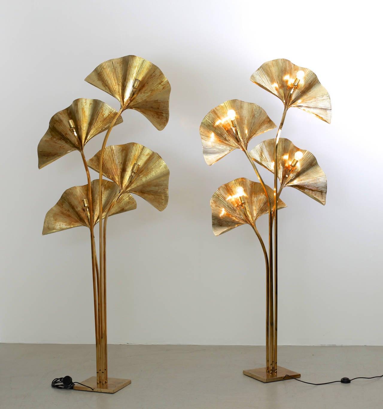 Italian Huge Four Ginkgo Leaf Brass Floor Lamp by Tommaso Barbi
