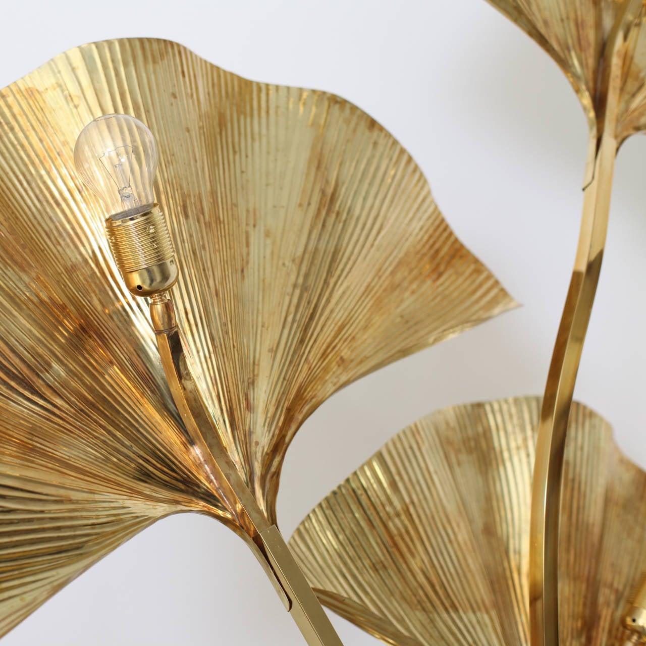Huge Four Ginkgo Leaf Brass Floor Lamp by Tommaso Barbi In Excellent Condition In Berlin, DE