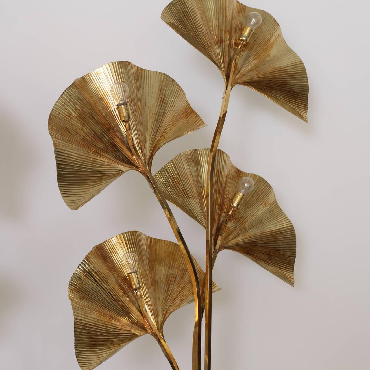 Huge Four Ginkgo Leaf Brass Floor Lamp by Tommaso Barbi 2