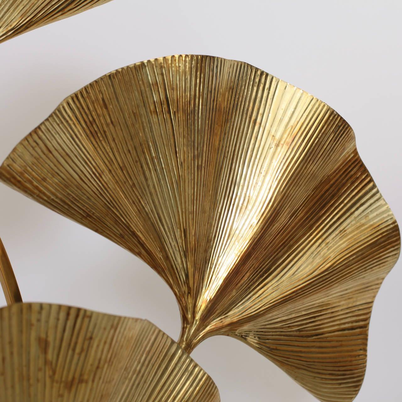 Huge Four Ginkgo Leaf Brass Floor Lamp by Tommaso Barbi 1