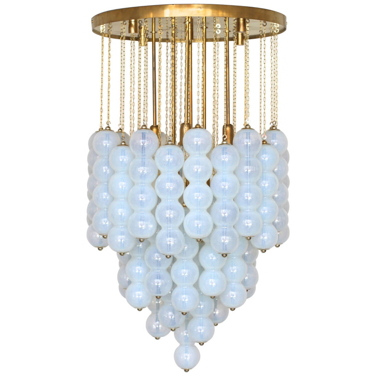 Very Huge Opaline Murano Glass Balls and Brass Chandelier by Zero Quattro Milan