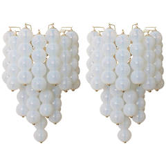 Pair of Huge Opaline Murano Balls and Brass Sconces Wall Lights for Mazzega