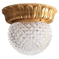 1 of 7 Glass Flush Mounts or Sconces on Gold-Plated Base by Glashütte Limburg
